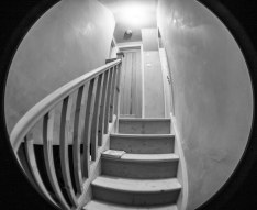 Stairs taken with a fisheye lens. Makes them look a bit creepy?